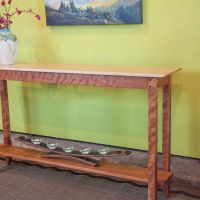 Curly Cherry Console Table Maple Top