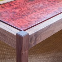 Moat Walnut Console Table Quilted Maple Top
