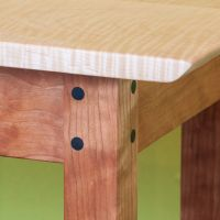 Curly Cherry Console Table Maple Top Detail