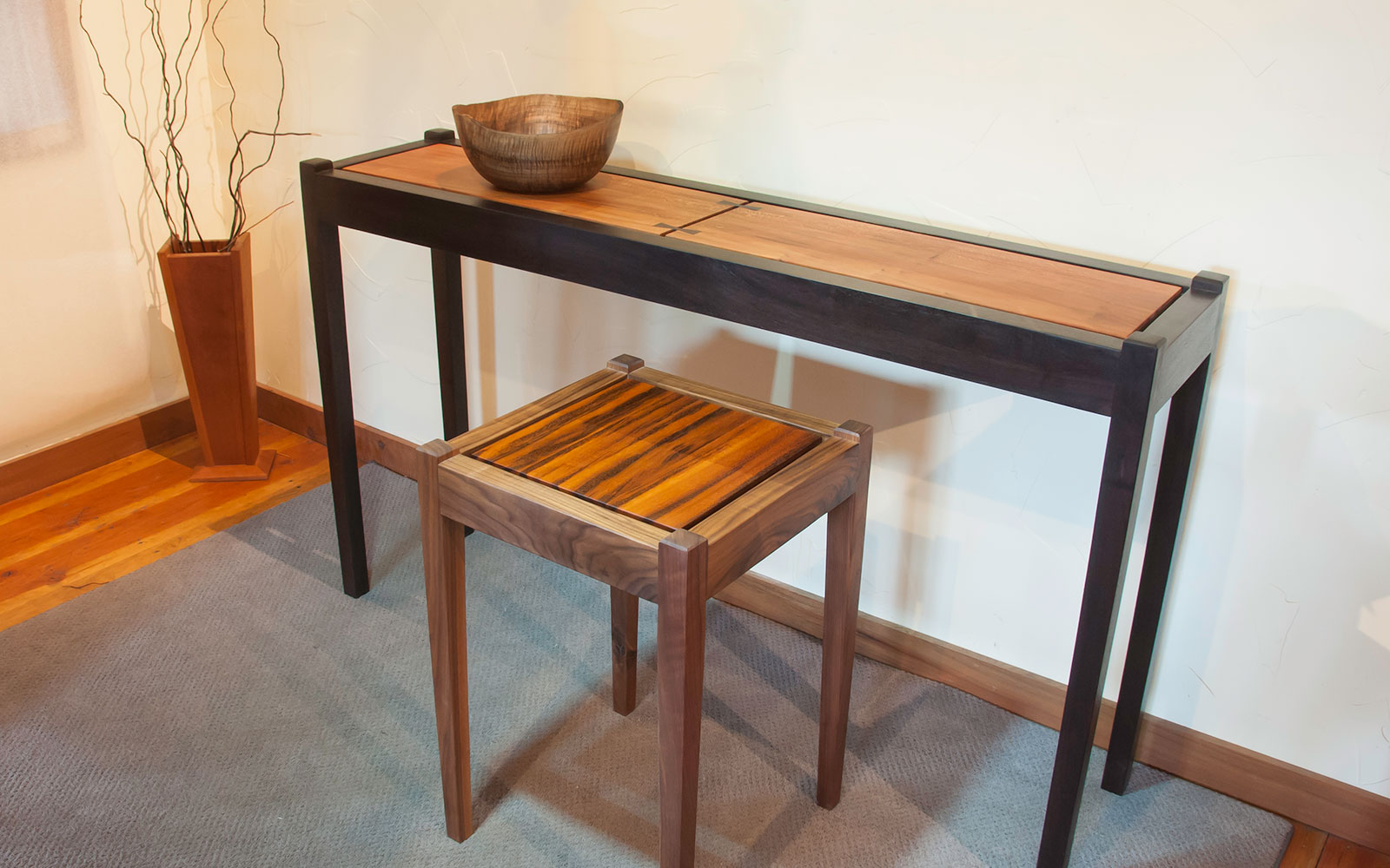 Moat Sycamore And Ebonized Walnut Console Table